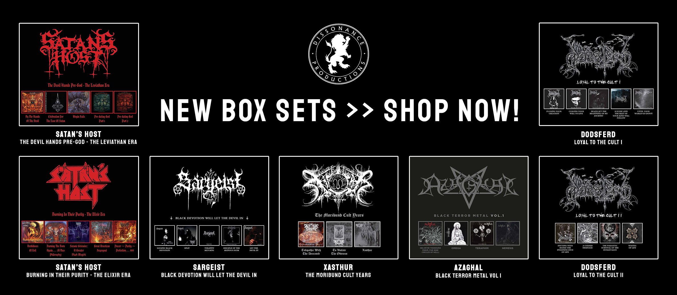"BLACK METAL BONANZA – ""mirror, mirror, on the wall, who's the blackest of them all…"" – Dissonance Productions' seven new black metal box sets go under the microscope."